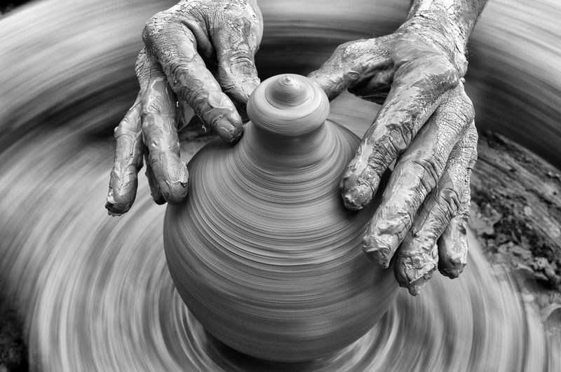 Spinning Human Hand Art And Craft Motion Hand Pottery Clay Craft Occupation Working Creativity Skill  Molding A Shape Blurred Motion Human Body Part Dirt Mud Making Craftsperson Expertise Finger Handmade Hand Craft Clay Art
