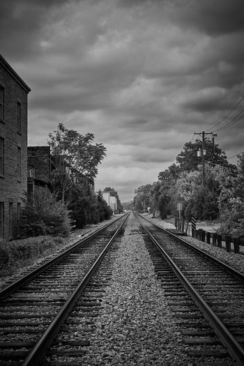 Blackandwhite Diminishing Perspective Historic Narrow No People Outdoors Perspective Public Transportation Rail Transportation Railroad Station Platform Railroad Track Railway Track Straight The Way Forward Train Transportation Travel Vanishing Point