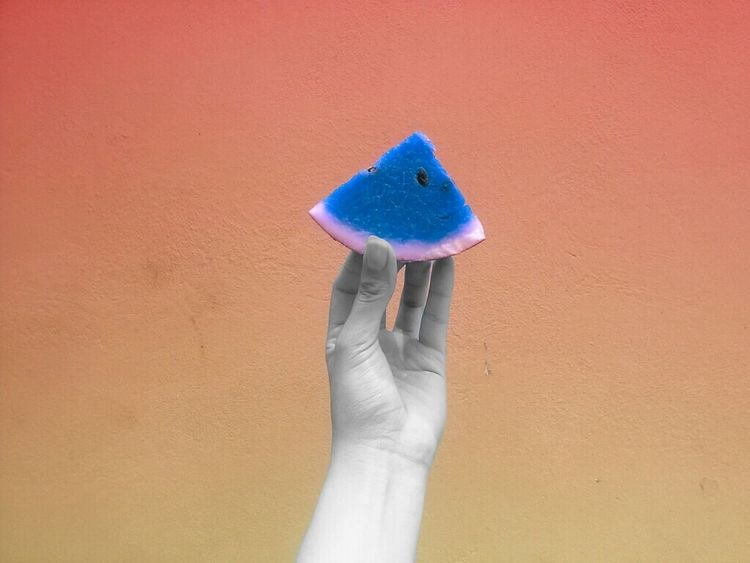 Hello World Hello Summer!  Telling Stories Differently EyeEm Masterclass Watermelon Hands At Work Blue Orange Color Showing Why I Could Be An Open Editor Strange Colors Different Colors Break The Rules Showcase June Pivotal Ideas