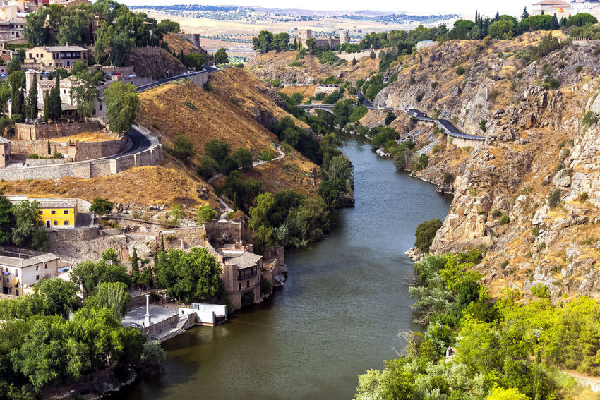 toledo river Andalucía Andalusia River View Riverside SPAIN Toledo Spain Architecture Building Exterior Built Structure Castle Cliff Day Daylight High Angle View History Nature No People Outdoors River Sky Toledo Travel Destinations Tree Water