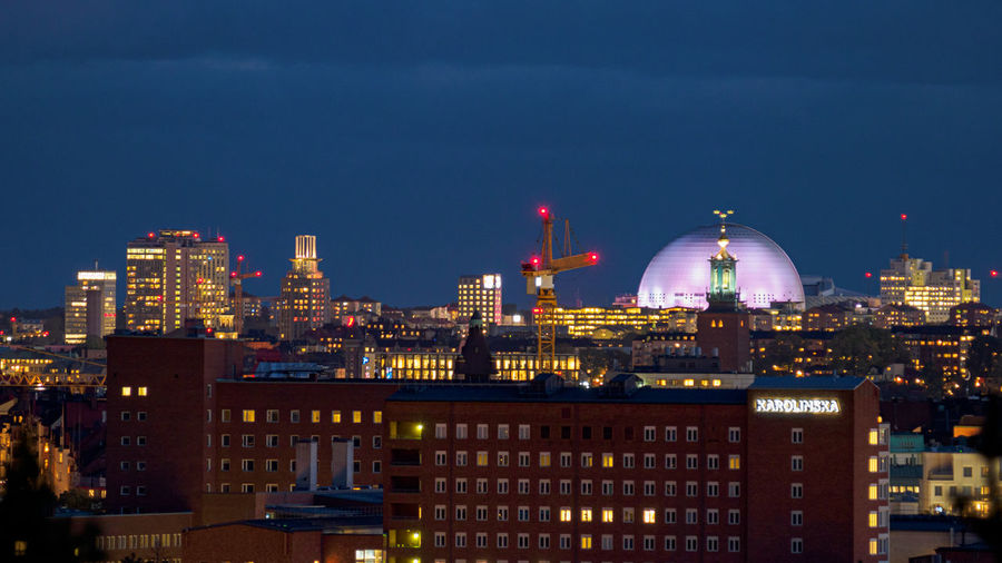 Scenic view of stockholm skyline at night