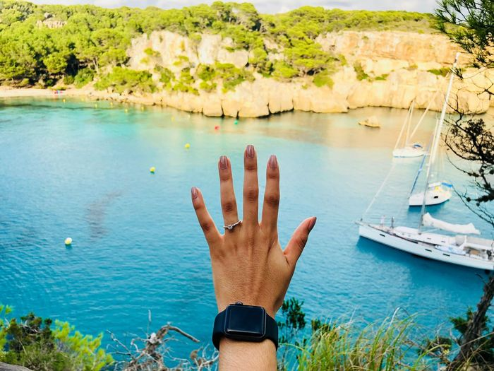 Marriage proposal! Proposal Ring Proposal Of Marriage Wedding Ring Beachphotography Rings 💍 Water Nature Plant Nautical Vessel Human Body Part Day Transportation Beauty In Nature Women Human Hand Real People Sea First Eyeem Photo