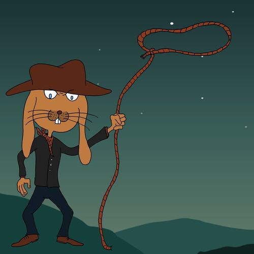 EyeEm Selects Illustration Cowboy Lasso Lassoing Rope Rabbit Bunny  Cowboy Hat Cartoon