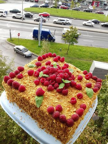 Freshness High Angle View Land Vehicle Plant Motor Vehicle Car Day No People Dessert Mode Of Transportation Fruit Sweet Food Sweet Transportation Food And Drink Red Road Outdoors Food Nature
