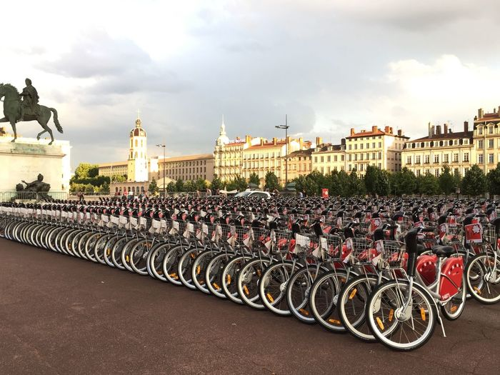 Bicycles parked outside buildings