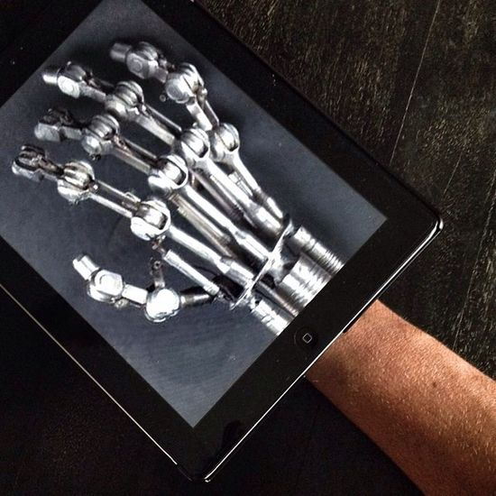 T800 Terminator Hand Cyborg Getting Creative Human Meets Technology