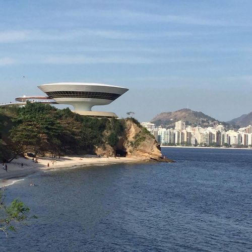 Architecture Building Exterior Built Structure Water Travel Destinations City Sea No People Sky Day Outdoors Modern Museum Niterói Brazil Seaside Tranquility Neighborhood Map This Is Latin America