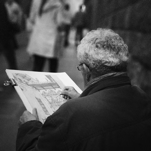 Senior Adult Reading Newspaper Rear View Focus On Foreground Senior Men Indoors  One Senior Man Only Men One Person Paper Close-up One Man Only Adults Only Day People Adult Painting ArtWork Artist Artistic Expression Drawing