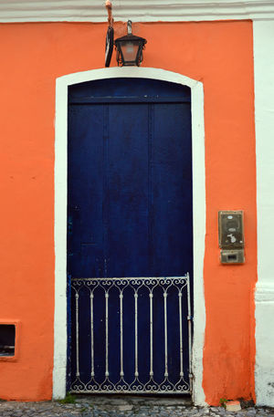 Popular architecture, with iron forge, in Bahia, Brasil Arquitecture Bahia/brazil Blue Color Blue Door Day Door First Eyeem Photo Forge  No People Orange Color Ornaments Outdoors