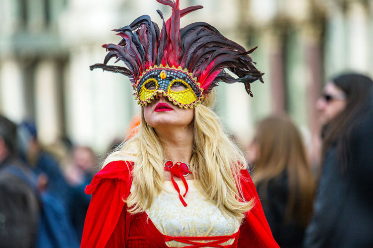 Carnival Carnival In Venice Red St. Mark's Square Carnival Costumes Mask Mask_collection Women