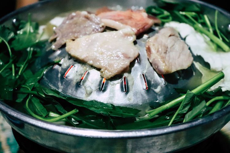 Close-up of meat on pan