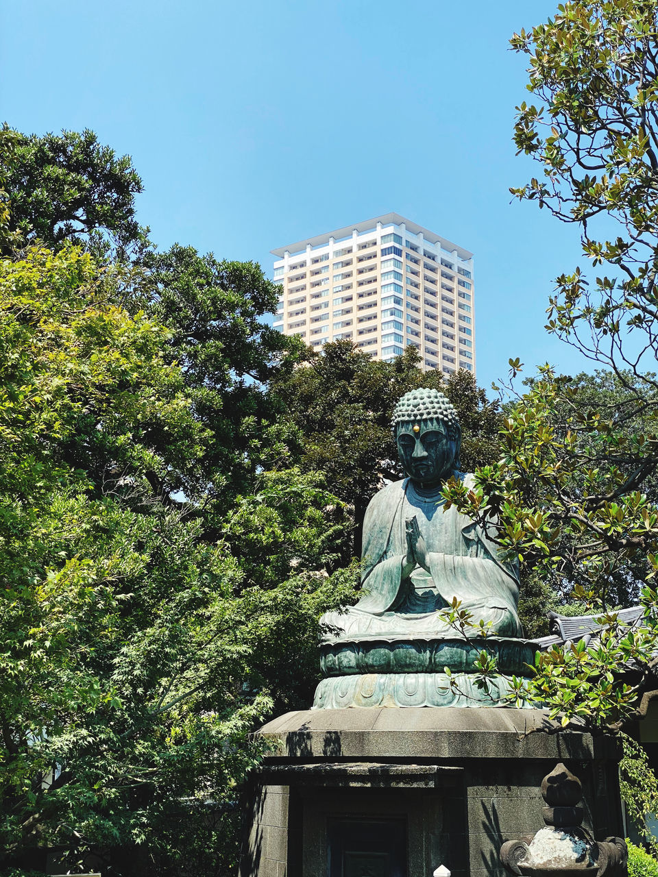 LOW ANGLE VIEW OF STATUE AGAINST BUILDING AND TREES