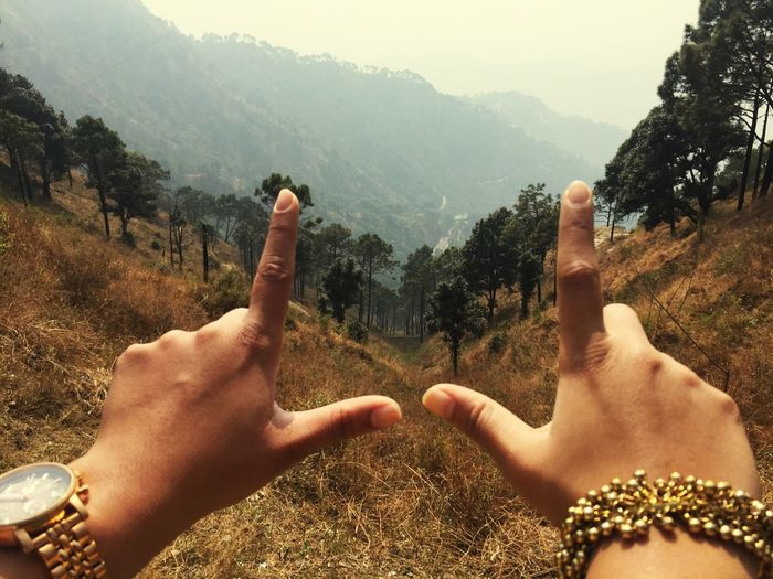 Cropped image of woman forming finger frame on mountain