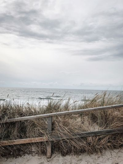Sky Cloud - Sky Sea Water Horizon Over Water Scenics - Nature Beauty In Nature Nature Day Tranquility No People Tranquil Scene Horizon Land Fence Barrier Beach Railing Outdoors