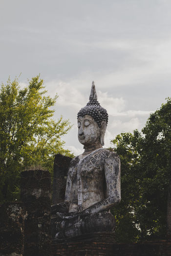 Statue of buddha temple against sky