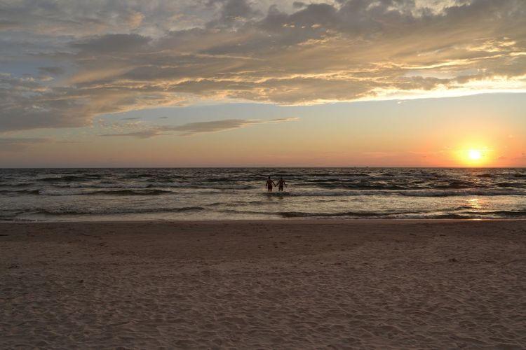 Water Sea Wave Sunset Beach Swimming Sand Sun Sunlight Silhouette Romantic Sky Seascape