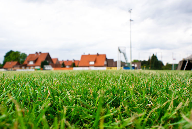 Agriculture Architecture Building Exterior Built Structure Day Field Grass Green Color Growth House Landscape Nature No People Outdoors Residential Building Sky Soccer Field Sportplatz Tree