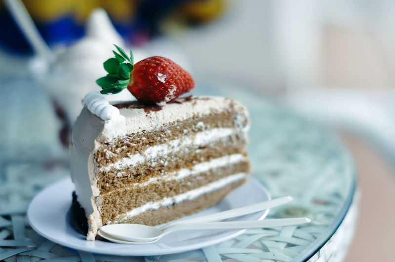 Close-up of strawberry cake on plate