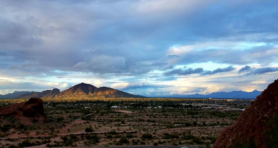 Don't need filters on these beautiful winter days in the desert. Nature Travel Destinations Scenics Beauty In Nature Cloud - Sky Outdoors Mountain Landscape Natural Phenomenon Camelback Mountain Early Evening Light