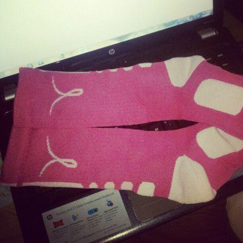 Pink elite socks. BreatCancerAwarenessMonth AwesomeSocks SUPPORTING