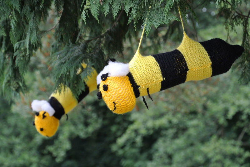 Bees in the trees Bees Animal Themes Animals In The Wild Knitted Art Outdoors