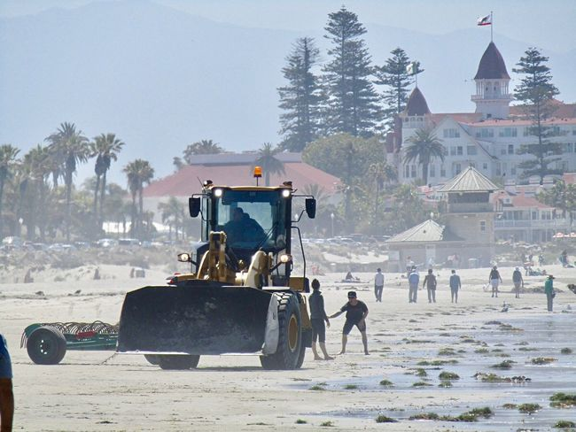 Real People Large Group Of People Day Outdoors Sky Tree People California USA Hotel Del Coronado Coronado Beach Bulldozer Beach California Love