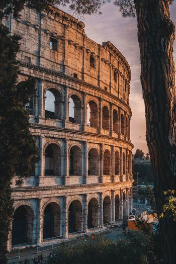 Sunset in rome, colosseum view
