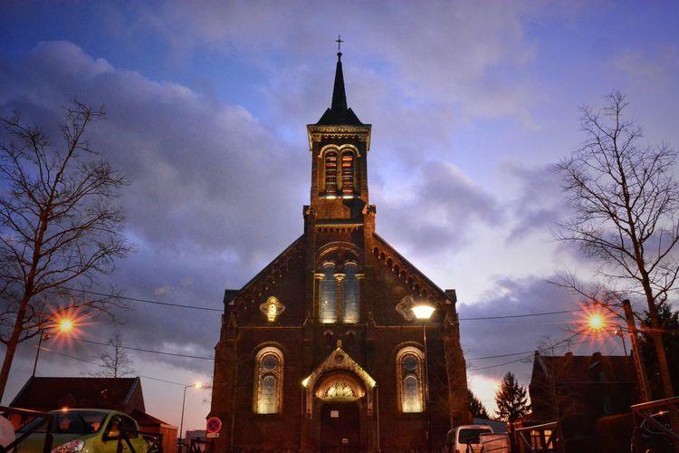 Church City Cityscape Illuminated Architecture
