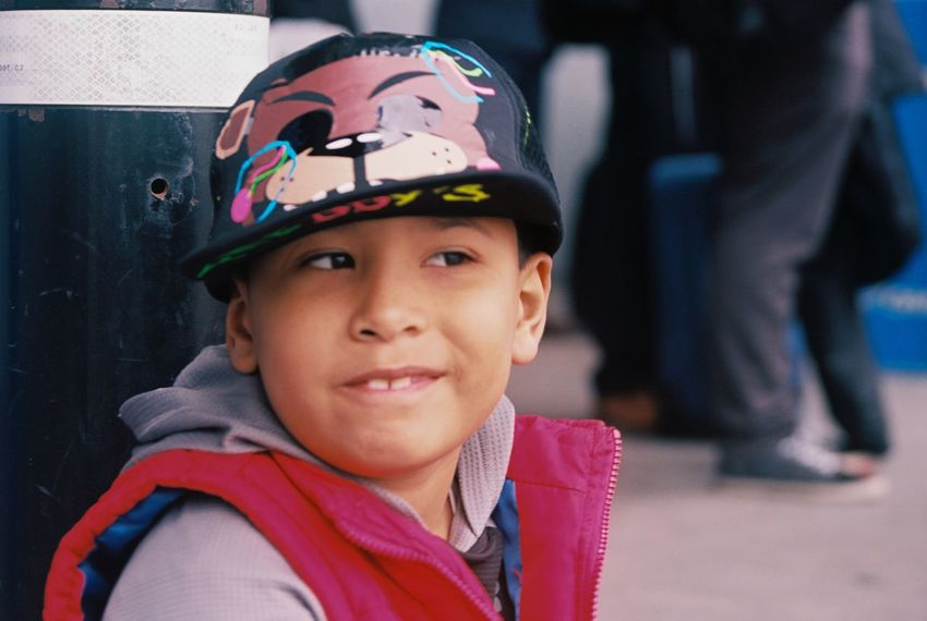 Sebas & Freddys Canon Elan 7 Kodak Ektar 100 Ektar100 Elan7 Canon Elan 7 Real People Headwear Helmet Childhood Boys One Person Cap Close-up Headshot Portrait