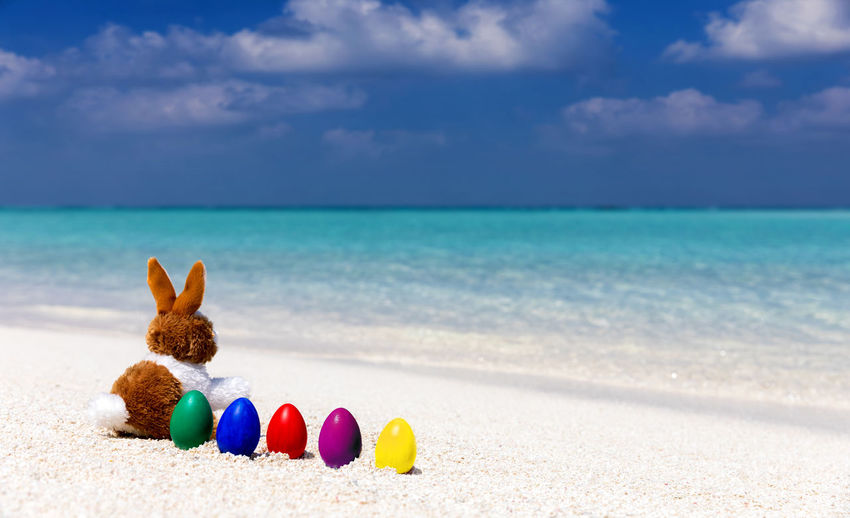 Close-up of bunny and easter eggs on shore at beach against cloudy sky