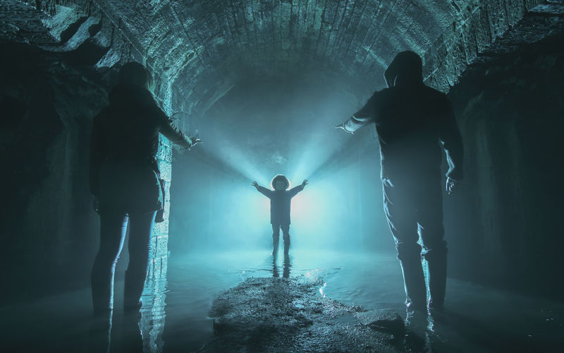 Full Length Silhouette People Illuminated Water Togetherness Family Portrait Urbexexplorer Three People Mother Father Son Cold Dramatic Mist Mysterious Horror Portrait Cinematic Underground Darkness And Light Darkness And Beauty Reached Out Arms Welcome Eyem Gallery Surrealism Welcome To Black