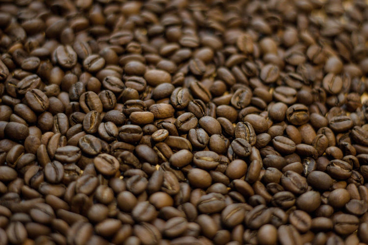 Food And Drink Full Frame Backgrounds Food Roasted Coffee Bean Brown Coffee Coffee - Drink Freshness Abundance Drink Large Group Of Objects Close-up Still Life No People Refreshment Selective Focus Indoors  Coffee Bean Roasted Caffeine Textured Effect