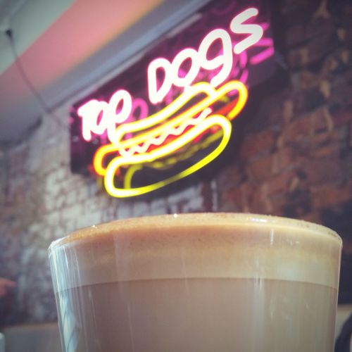 All The Neon Lights I believe this cafe sells hotdogs... Coffee Neon Sign Hanging Out Relaxing Enjoying Life