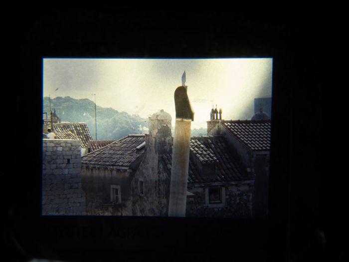 For Dijana: Slide showing the roofs of old town Dubrovnik, 1980 1980 Dubrovnik, Croatia Old Technology Analogue Slide Black Margin Low Tech Old Technology Meets New Technology Slide Viewer Slides