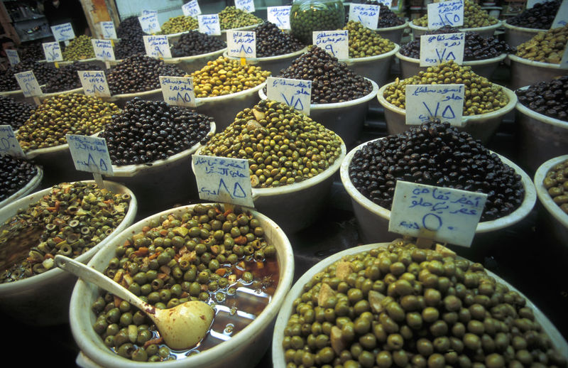 High angle view of fruits for sale