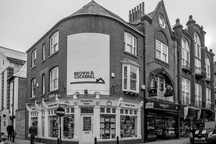 Corner of Bank and Regent Streets, Rugby, Warwickshire Street Shops FUJIFILM X-T10 Warwickshire Rugby Rugbytown Black And White Monochrome Architecture Bank