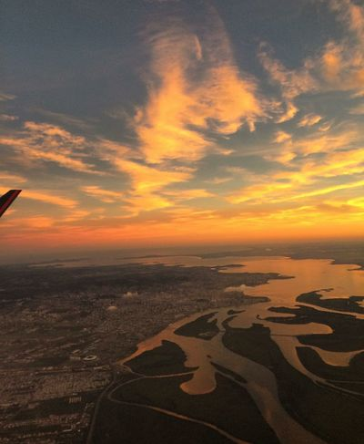 Sunset Airplane Aerial View Scenics Travel High Angle View Flying Transportation Dramatic Sky Sky Outdoors Beauty In Nature Cloud - Sky Nature Lovely View Night Lights Travel