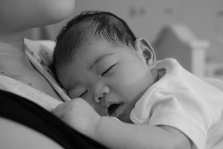 Childhood Real People Indoors  One Person Innocence Eyes Closed  Baby Sleeping Cute Babyhood Relaxation Close-up Headshot Lying Down Bed Fuji X-a2 Blackandwhite Black And White Black & White Black And White Photography New Life Babies Only Newborn Baby