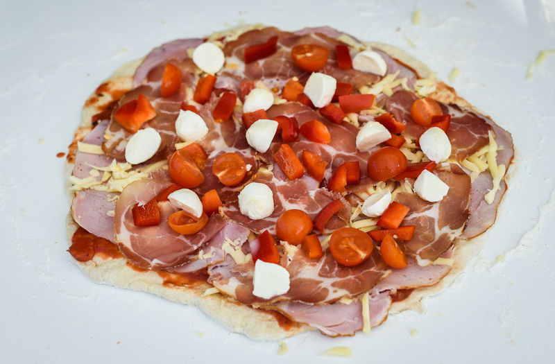 High angle view of pizza in plate on table