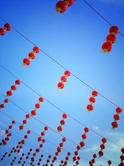 Low Angle View Of Chinese Lanterns Hanging