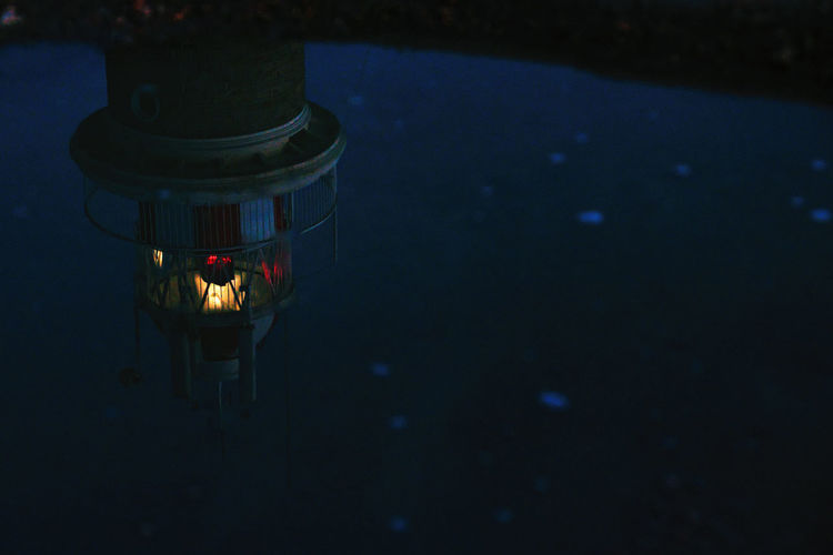High angle view of illuminated lantern at night