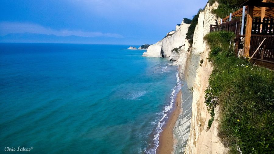 Blue Corfu Horizon Over Water Loggas Nature Ocean Outdoors Peroulades Rock Formation Sea Water