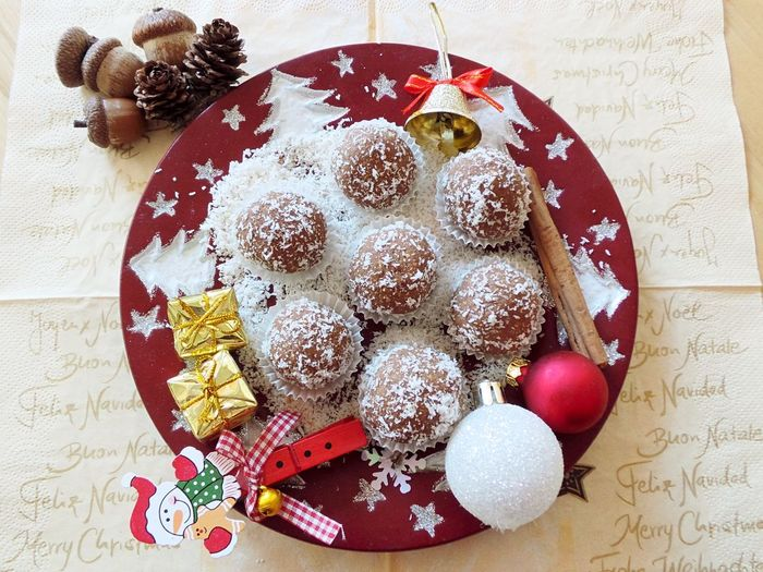 Rum balls Christmas Time Chritmas Rum Balls Celebration Christmas Christmas Decoration Close-up Day Dessert Directly Above Food Food And Drink Freshness Indoors  Indulgence No People Ready-to-eat Sweet Food Food Stories