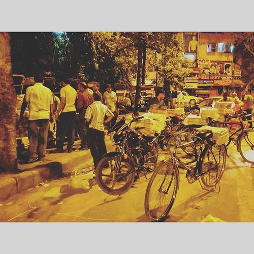 Newspaper vendors gathering to collect their share of papers is a common sight in Delhi during the early hours of the morning. This picture captured in Patparganj, East Delhi shows the hustle and bustle of the city that never sleeps. x Delhi India Indiapictures Incredibleindia Picoftheday Wander Cycle DelhiGram Sodelhi Delhidiaries Patparganj Eastdelhi Newspaper Vendors Mornings Hustlebustle Indiagram Ig_Delhi Ig_captures Summer2015 The_hatke