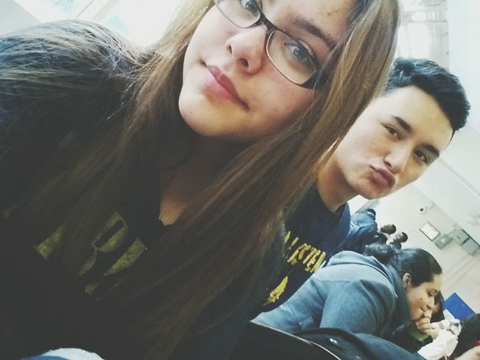 earlier in lunch with this cutie <333 Duck Lips ♥ We Cute C; Selfie ✌ Bored In Lunch .