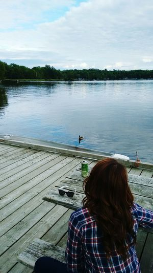 Tally-Ho Inn Boat Launch, Huntsville, ON. August 2015. Huntsvilleontario Penn Lake Penninsula Lake Muskoka Canada Up North Summer Tall Boy Beer MuskokaLakesBreweryAd Bae  Hair Brunette Ombre Girlfriend First Eyeem Photo