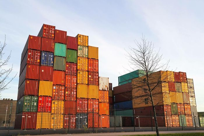 Stack Cargo Container Freight Transportation Container Industry Harbor Shipping  Transportation Commercial Dock Crane - Construction Machinery Large Group Of Objects Business Finance And Industry Bare Tree Business No People Day Multi Colored Outdoors Sky City
