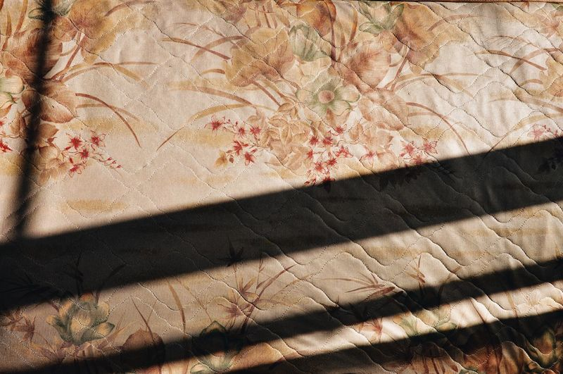 Bed Full Frame Backgrounds Pattern Textured  No People Sunlight Textile Design Shadow Falling