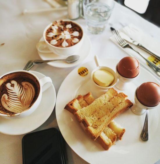 English breakfast Food And Drink Food Ready-to-eat No People French Food Bread Indoors  Sweet Food Freshness Close-up Day Coffee Coffee ☕ Coffeelover Cappuccino Cappucino_lovers Cappuccino ☕️ Latte Eggs... Eggs For Breakfast