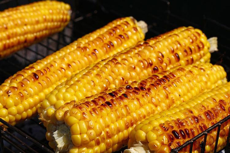 Close-Up Of Sweetcorn On Barbecue Grill